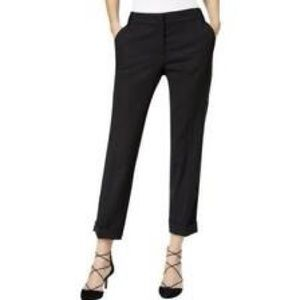 Max Mara Black Straight Leg Silk Dress Pants